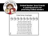 FREE Ordinal Number Snowfriends Coloring Activity