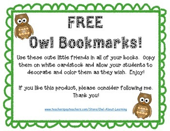 """FREE Owl Bookmarks """"Owl Save Your Place!"""""""