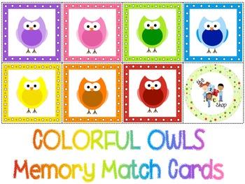 FREE! Owl Colors Memory Match