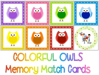 FREE! Owl Colors Memory Match