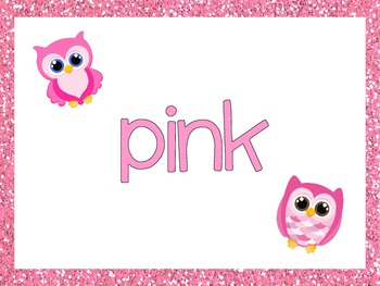 FREE Owl Glitter Color Word Posters