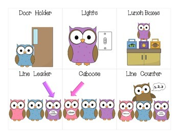 FREE Owl Themed Helper Cards for Classroom Jobs Starter Set