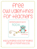 FREE Owl Valentines for Teachers
