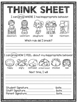 Behavior worksheets for kindergarten