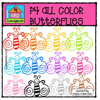(GAW) FREE P4 ALL COLOR Butterflies {P4 Clips Trioriginals Digital Clip Art}