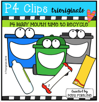 FREE P4 BIGGY MOUTH Time to RECYCLE (P4 Clips Triorginals Clip Art)