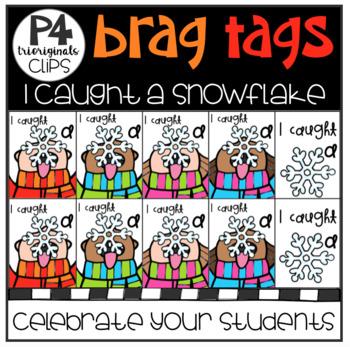 FREE P4 BRAG TAGS (I Caught a Snowflake) P4 Clips Trioriginals
