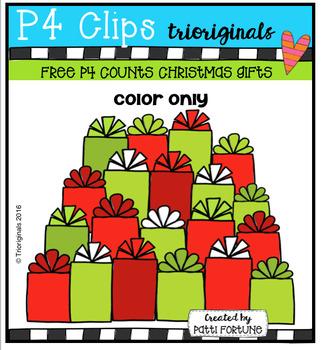 FREE P4 COUNTS Christmas Gifts (P4 Clips Trioriginals Digital Clip Art)