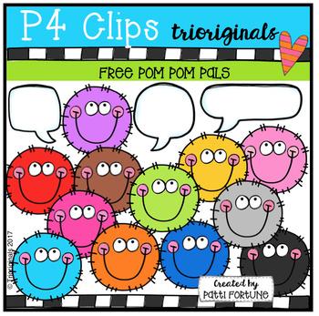 FREE P4 FUZZY Pom Pom PALS (P4 Clips Trioriginals Clip Art)