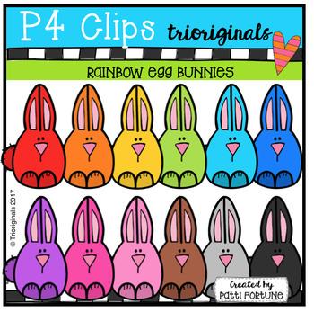 FREE P4 RAINBOW Egg Bunnies (P4 Clips Trioriginals Clip Art)