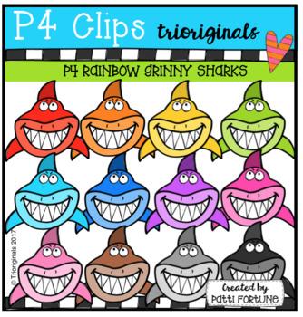 FREE P4 RAINBOW Grinny Sharks (P4 Clips Trioriginals Clip Art)
