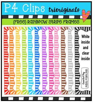 FREE P4 RAINBOW Stripe Frames {P4 Clips Trioriginals Digital Clip Art}
