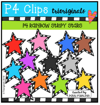 FREE P4 RAINBOW Stripy Stars (P4 Clips Trioriginals) DESIGN ELEMENTS