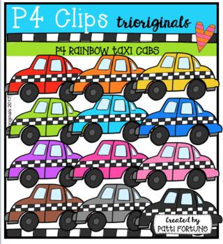 FREE P4 RAINBOW Taxis (P4 Clips Trioriginals Clip Art)