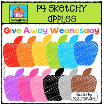 FREE P4 Sketchy Apples {P4 Clips Trioriginals Digital Clip Art}
