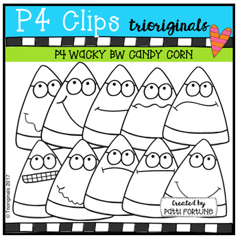 FREE P4 WACKY BW Candy Corn (P4 Clips Trioriginals Clip Art)