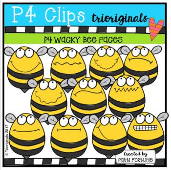 FREE P4 WACKY Bee FACES (P4 Clips Trioriginals Clip Art)