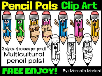 FREE PENCIL PALS CLIP ART- PENCIL CARTOON CLIP ART-COMMERCIAL USE