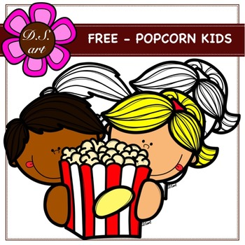 FREE - POPCORN KIDS Digital Clipart (color and black&white)