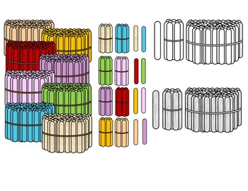 POPSICLE MATH CLIP ART- Popsicle stick clipart- 100'S,  10'S AND 1'S CU OK