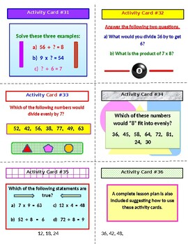 FREE PREVIEW Multiplication and Division Facts Together Activity Cards FREE