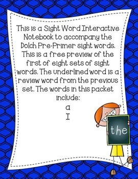 FREE PREVIEW Pre-Primer Dolch Sight Word Interactive Notebooks Set 1