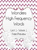FREE PREVIEW Wonders High Frequency Word Worksheets