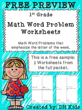 FREE PREVIEW - Word Problem Worksheets for 1st Grade