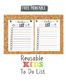FREE PRINTABLE Kid's Reusable To Do List