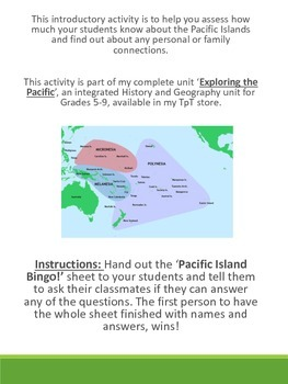 FREE Pacific Island Bingo - pre-test introductory activity