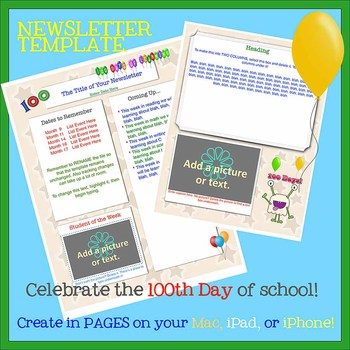 free pages 100th day template create on the go using iphones ipads