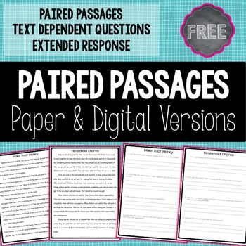 FREE Paired Passage and Questions