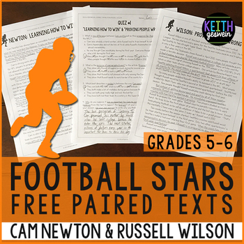 FREE Football Paired Texts: Cam Newton & Russell Wilson (Grades 5-6)