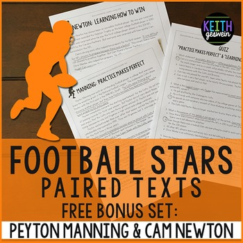 FREE Football Paired Texts: Peyton Manning & Cam Newton: Nonfiction Passages