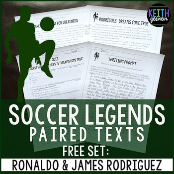 FREE Paired Texts: Soccer Stars Ronaldo & James Rodriguez: Nonfiction Passages