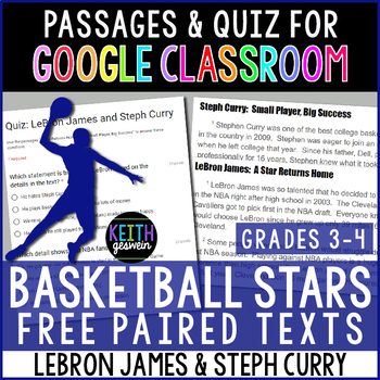 FREE Paired Texts for Google Classroom: LeBron James and Steph Curry (3-4)
