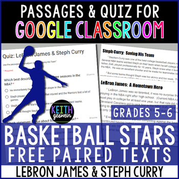 FREE Paired Texts for Google Classroom: LeBron James and Steph Curry (5-6)