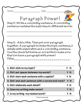 Paragraph Writing - Paragraph Power!