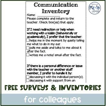 FREE Paraprofessional Likes/Interests Questionnaire & Communication Inventory