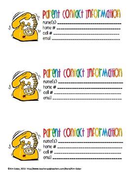 FREE - Parent Contact Cards