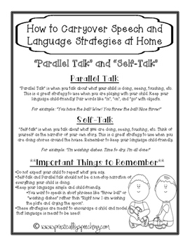"""FREE Parent Handouts for """"Self Talk"""" and """"Parallel Talk"""""""