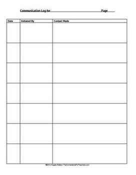 FREE Parent-Teacher Communication Log: Forms for Documenting Phone Calls