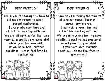 FREE Parent-Teacher Conference THANK YOU's