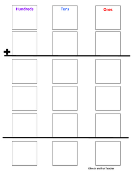 Partial Sums Addition Templates {Free}