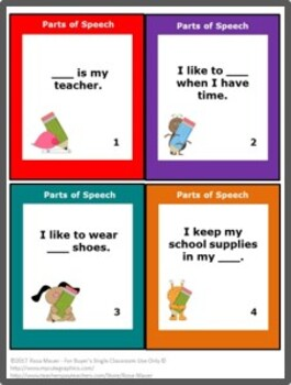FREE Parts of Speech Language Arts Task Cards