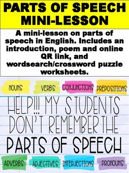 FREE Parts of Speech Mini-Lesson