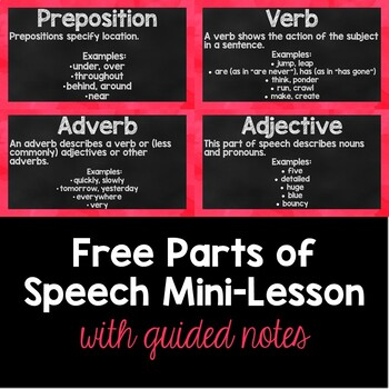 FREE Parts of Speech Mini Lesson with Guided Notes