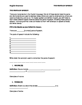 FREE Parts of speech worksheet + ANSWERS (all 9 parts of speech)