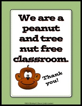 FREE Peanut and Nut Free Classroom Signs