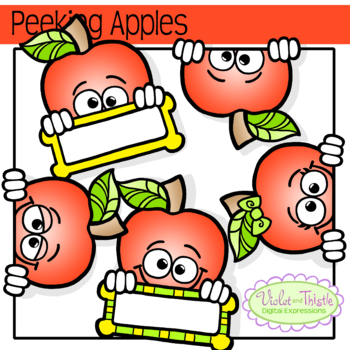 FREE Peeking Apple Faces with Frames Clipart